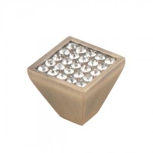 7071 Ручка скоба с кристаллами кнопка бронза