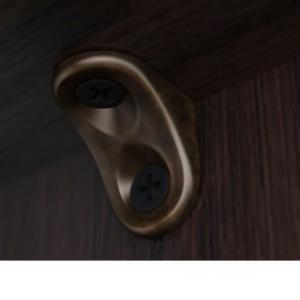 Полкодержатель для деревянных полок с фиксацией, с круглым и овальным отверстиями под саморез