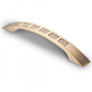 7064 Ручка скоба с кристаллами 128 мм бронза