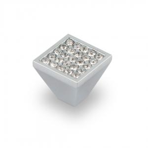 7068 Ручка скоба с кристаллами кнопка хром