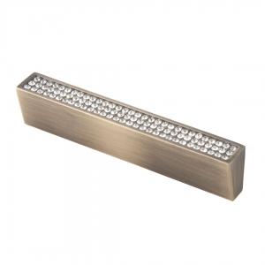 7069 Ручка скоба с кристаллами 96 мм бронза
