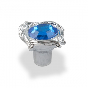7081 Ручка кнопка с синим камнем 96 мм хром