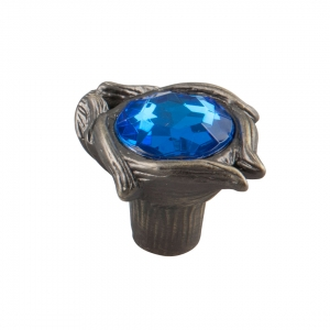 7083 Ручка кнопка с синим камнем 96 мм бронза